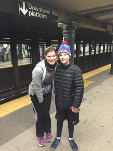 Hollianne and JT preparing to leave for the NYC marathon starting line...November 2, 2014.